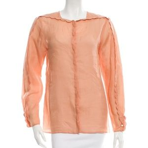 CHLOÉ Scallop-Trimmed Long Sleeve Top